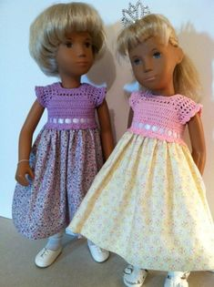 As promised, here is the pattern for a crocheted dress bodice with a fabric skirt, sized to fit Sasha dolls. Sasha ranges in size from aroun...
