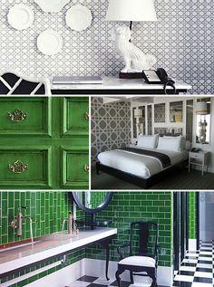 Viceroy Santa Monica's Green & White Palette & Wallpaper Detailing #design #hotels