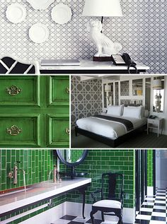 Viceroy Santa Monica's Green & White Palette & Wallpaper Detailing #design #hotels