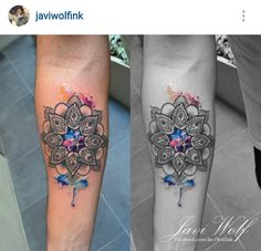 javi Wolf watercolor mandala tattoo