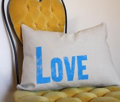 {Love Letterpress Pillow} this would be a sweet addition to a bedroom :)