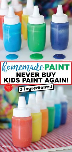How to Make Homemade Paint Buying paint for kids or a classroom can be pricey! Never buy paint again with this 3 ingredient homemade paint recipe! This is a money saving DIY for parents and teachers on a budget (or for those of us who love being crafty! Fun Crafts For Kids, Craft Activities For Kids, Summer Crafts, Toddler Crafts, Preschool Crafts, Toddler Activities, Diy For Kids, Kids Paint Crafts, Creative Ideas For Kids