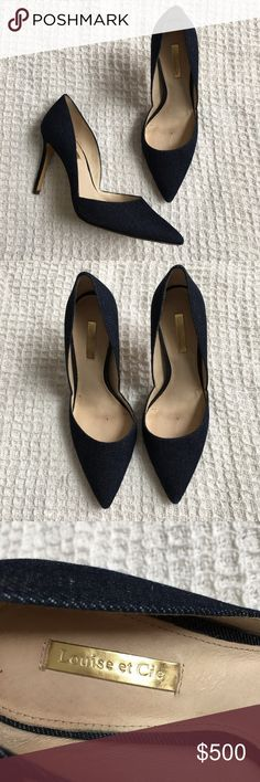 """Louise et Cie Denim Pointed Toe Heels Size 8 Louise et Cie Denim Pointed Toe Heels Size 8.  Good condition. Some wear underneath toe area (see photos).  Size: 8 M  Material: fabric upper, leather lining, leather sole.  Heel measures 4"""" tall. Louise et Cie Shoes Heels"""