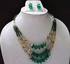 Semi Precious Beaded Jewellery With Silver Vermil Finding