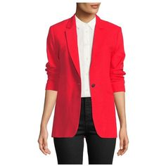 Rag  Bone Ridley NotchedLapel Blazer Jacket (£395) ❤ liked on Polyvore featuring outerwear, jackets, blazers, red, blazer jacket, oversized jackets, red blazer, red blazer jacket and red jacket