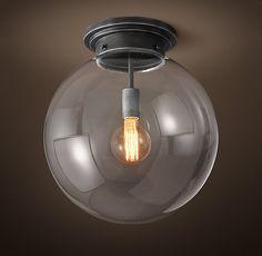 inexpensvie... like bulb Parisian Architectural Clear Glass Poste Flushmount