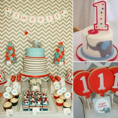 """Magdalena Czerny of Oh So Chic Celebrations gladly rose to the challenge when tasked with creating a modern, red, gray, and blue party for 1-year-old Julian. """"His mommy is a wonderful lady with a great sense of style,"""" Magdalena says. """"She had a vision of what she wanted to do, and when I showed her the chevron fabric I had just purchased, she loved it. We found an invitation with an elephant, a red balloon, and a chevron pattern, and the rest of it just flowed from that."""" We're loving the…"""