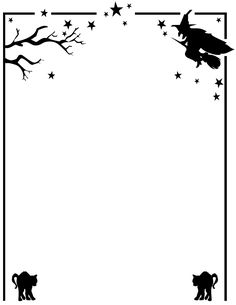 Fun Halloween activities for kids including coloring pages, games, crafts, clipart and more to celebrate this October 31 holiday. Image Halloween, Theme Halloween, Holidays Halloween, Halloween Crafts, Halloween Costumes, Halloween Borders, Halloween Activities For Kids, Halloween Coloring Pages, Witch Cat