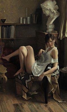 Osamu Obi (b. 1965), oil on canvas {figurative art female seated Japanese woman cropped painting #loveart} osamu-obi.com