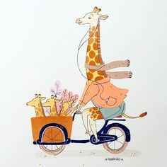 "Happy Wednesday my nerds! Today's animal is ""a giraffe talking on the phone while cycling a cargo bike with her kids in it (amsterdam style)"" thank you patrons for the ideaaa! 😍🙌🏽✨ #franuary ☕️ What is this? During January I decided to draw one animal every day. Why? Because I noticed I never draw animals and I want to get better at drawing them. So this is me practicing and also sharing the process with you guys! 🙃☕️❤️"