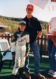 Teacher and student? Michael Schumacher towers over a young Sebastian Vettel