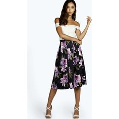 Boohoo Jolie Large Floral Full Midi Skater Skirt ($16) ❤ liked on Polyvore featuring skirts, women skirts, a line midi skirt, midi skirt, floral maxi skirt and maxi skirt