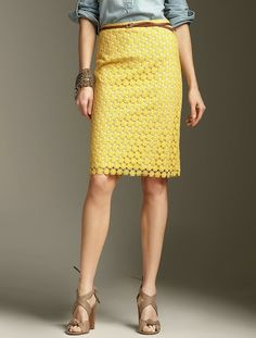 need to make a yellow lace pencil skirt this summer