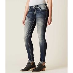 Rock Revival Scotia Skinny Stretch Jean - Blue 24/32 ($164) ❤ liked on Polyvore featuring jeans, blue, blue jeans, blue skinny jeans, skinny leg jeans, super stretch skinny jeans and stretch jeans