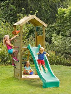 Plum Wooden Lookout Tower Play Centre with Slide, Climbing Wall and Sand Pit | very.co.uk