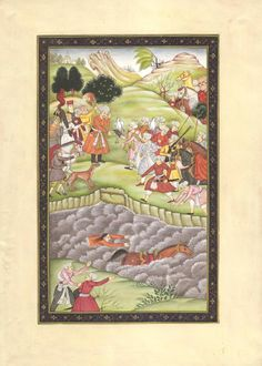 Mughal Miniature Fine Artwork. It depicts Emperor Babur engaged in sport of falconry. The painting also is an elaborate account of an outing day for the Mughal royalty in the mountains among a garden type paradise.
