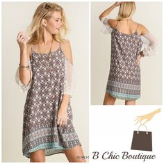 Vintage Print Cold Shoulder Dress Classic Vintage Print in elegant olive and green colors. Cold shoulder style finished by a cream lace sleeve. Perfect to wear as a tunic too! PRICE FIRM - NO TRADES Bchic Dresses