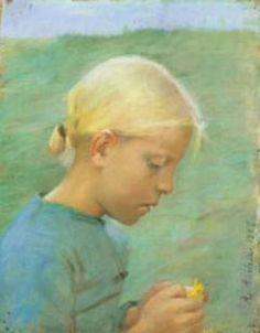 ANNA ANCHER  Lille pige med blomst [Little girl with flower]