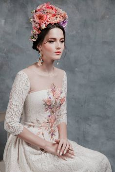 Pink Floral Wedding Dress, Floral Headpiece, Russian-Inspired Bridal Fashion Try to take your eyes off this Russian fashion feature, just try. To say that each look from this Russian bridal fashion shoot is exquisite would be an understatement. Wedding Headband, Bridal Crown, Bridal Looks, Bridal Style, Russian Wedding, Floral Headpiece, Vintage Headpiece, Bridal Headpieces, The Dress
