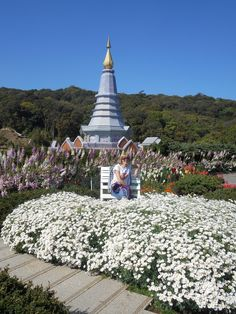 Doi Inthanon National Park. One of the two adjacent chedis (stupas) erected by The Royal Forces to honor hr and his Maesties' birthday anniversaries. Brighter chedi is for the queen.