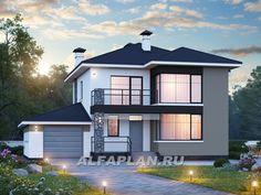 """""""Лотос"""" - компактный современный двухэтажный дом с гаражом (557B), Alfaplan.ru"""
