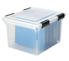 Iris Ultimate Letter/Legal File Box  $22.99  Item #: 21566556  Manufacturer #: 110600  Weather tight seal on lid offers additional protection from moisture and mildew for valuable files like birth certificates, family records, photos and more.  Features:  Stackable  Reinforced lid  Extra buckles for added protection  Clear/black  Polypropylene