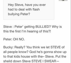 Steve being protective of peter