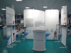 Portable trade show booth made by Hawk Display. Easy to install and good to display brochures and products with panels.