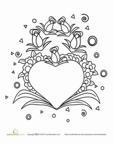 Geometric shapes, fun flowers and a big heart fill this Valentine's Day coloring page up.