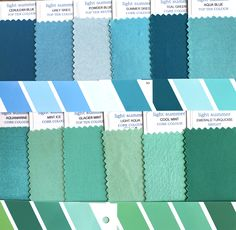 Fabric swatch cards from the Light Summer Colour Palette. Light Spring, Soft Summer, Cool Summer Palette, Seasonal Color Analysis, Green Colour Palette, Season Colors, Spring Colors, Swatch, Blog