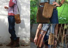 Rustic mini tote bag. Oiled leather tote. by JustWanderlustShop