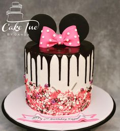 Minni Mouse Cake, Minnie Mouse Birthday Cakes, 4th Birthday Cakes, Mickey Birthday, Birthday Ideas, Bolo Minnie, Minnie Cake, Pastel Mickey, Rosalie