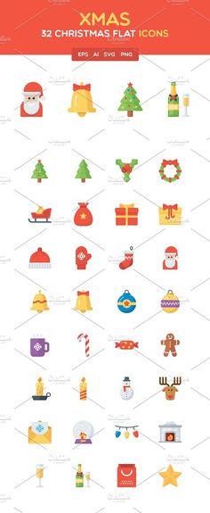 Christmas Flat Icon Set Icons 1200