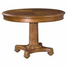 "Dining table with a ribbed pedestal and carved bun feet.  Product: Dining tableConstruction Material: WoodColor: AmberDimensions: 30"" H x 44"" Diameter"