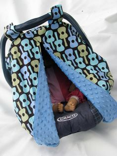 Unique Reversible Fitted Carseat canopy...like a baby tent!   Michael by kidkovers on etsy