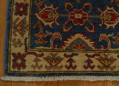 2' x 3' Oriental Rug Denim Blue Kazak Hand Knotted Tribal Design