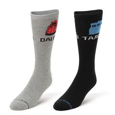 Doctor Who: Men's TARDIS & Dalek Crew Socks (2 Pair) Pull up your socks, Whovian! Travel through time in style with this 2-pack of Doctor Who socks featuring the TARDIS on one set and a red dalek on the other! Wrap your feet in these super-comfy Doctor Who crew socks, men's size 9-13.