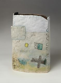 Above Watergate slab-built, engobe layers, slips and glazes h. 35 cm