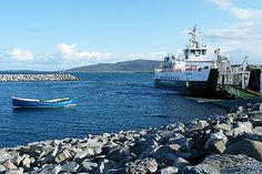 The CalMac Sound of Barra ferry at the terminal on Eriskay, preparing to load up and leave for Barra.