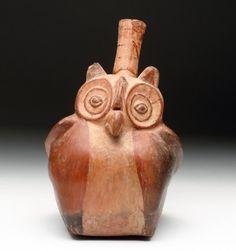 Moche Pottery Stirrup Vessel - Owl : Lot 77A