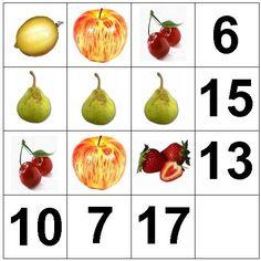 ¿Sabes decirnos el valor de cada fruta?  Substituye cada fruta por un número de una cifra, para conseguir que las sumas verticales y horizo...