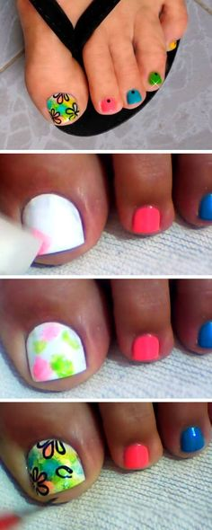 Multicolored and Flowers | 18 DIY Toe Nail Designs for Summer Beach | Easy Toenail Art Designs for Beginners