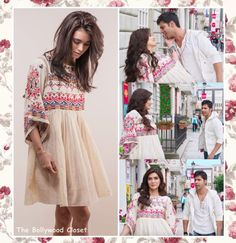 Kriti Sanon looked lovelyyyy at 'Manma Emotion Jaage' song from her incoming movie 'Dilwale' wearing a white embroidered dress by the designer Nina Kaufmann styled by Mehek … Casual Indian Fashion, Indian Fashion Dresses, Dress Indian Style, Girls Fashion Clothes, Boho Fashion, Ladies Day Dresses, Stylish Dresses For Girls, Stylish Dress Designs, Casual Dresses