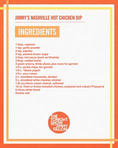 Twitter Dove Recipes, Spicy Recipes, Chicken Dips, Tonight Show, Jimmy Fallon, Melted Butter, Hot Sauce, Nashville, Appetizers