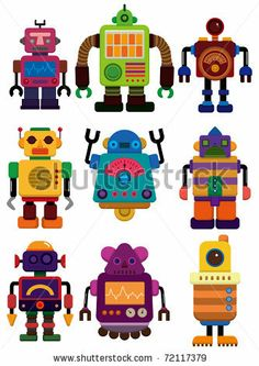 cartoon color robot  icon by notkoo, via Shutterstock