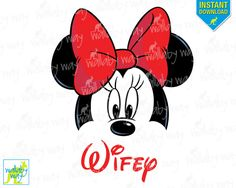 Minnie Ears WIFEY Printable Iron On Transfer or Use as Clip Art - DIY Matching Shirts, Download, Disney Shirts, Red, Just Married, Wedding by TheWallabyWay on Etsy