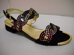(A) Mamzelle Windy - W - Mamzelle Windy  Black suede and multi coloured diamante sandal.  Gold trim front and heel piece on a 3.5cm heel height.    Sizes range 37-41.   Price 199 NZ $ Diamante Sandals, Summer Shoes, Black Suede, Spring Summer, Wedges, Range, Heels, Gold, Fashion