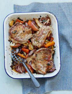 Autumn dinner recipe = Pork chop, root veg and apple traybake Tray Bake Recipes, Pork Recipes, Dinner Recipes, Cooking Recipes, Healthy Recipes, Recipies, Fun Recipes, Family Recipes, Healthy Food