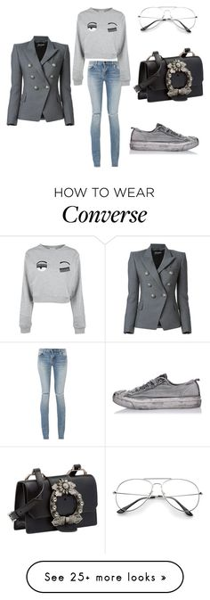 """streetstyle"" by nenzie on Polyvore featuring Yves Saint Laurent, Chiara Ferragni, Balmain, Miu Miu and Converse"