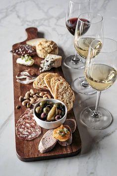 wine and antipasti